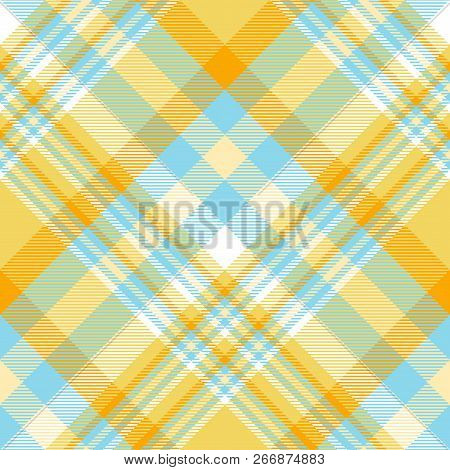 Madras Plaid Pattern In Orange, Yellow, Blue And White.
