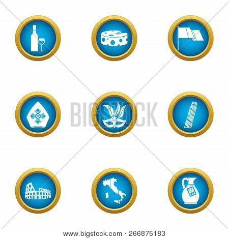European Peace Icons Set. Flat Set Of 9 European Peace Icons For Web Isolated On White Background
