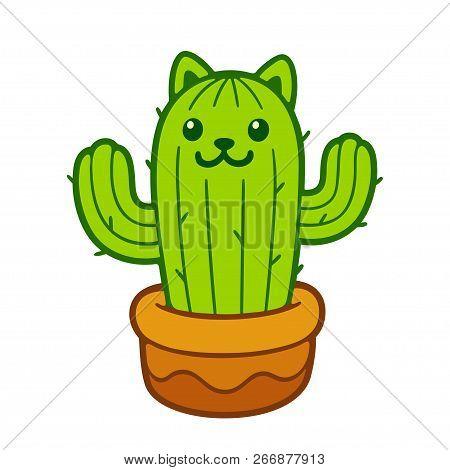 Cartoon Cat Cactus Vector Photo Free Trial Bigstock