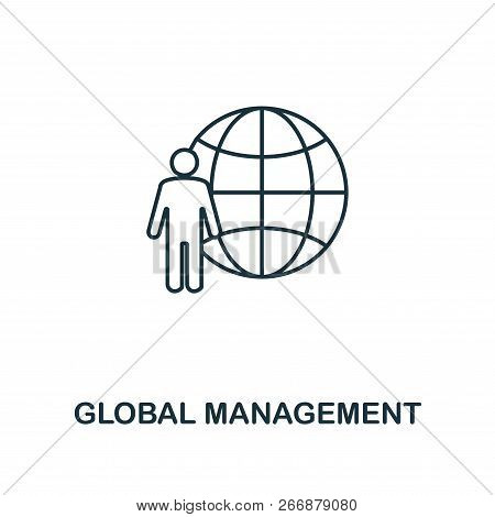 Global Management Outline Icon. Premium Style Design From Project Management Icons Collection. Simpl