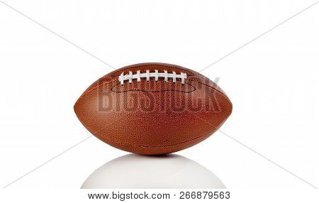 American Football Isolated On Pure White Background With Reflection