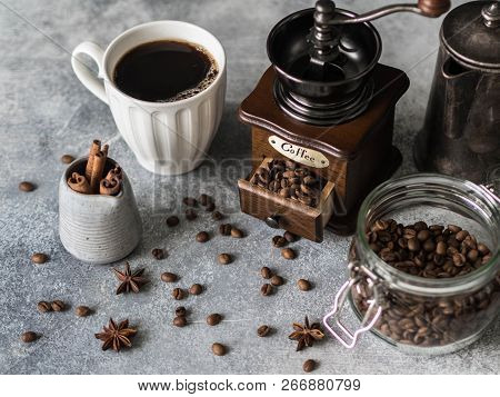 Various Ingredients For Making Coffee, Glass Jar With Coffee Beans, Sugar, Vintage Coffeepot, Coffee