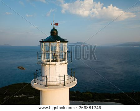 White Lighthouse Top, Aerial Picture, High Above The Sea Level, Lefkada Greece