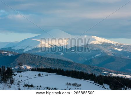 Evening Twilight Winter Cloudy Day Snow Covered Alp Mountain Ridge (ukraine, Carpathian Mountains, C