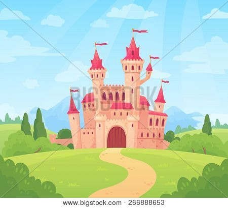 Fairytale Landscape With Castle. Fantasy Palace Tower, Fantastic Fairy House Or Magic Castles Kingdo