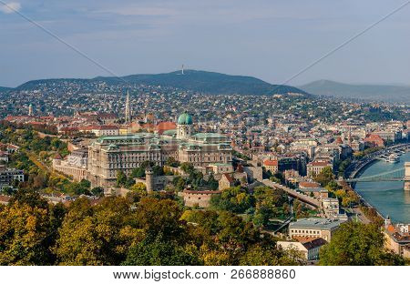 View Of The Castle Hill, From The Gellert Hill, In Budapest, Hungary. The Castle Of Buda Dominates T