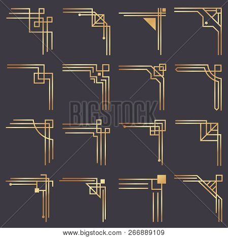Art Deco Corner. Modern Graphic Corners For Vintage Gold Pattern Border. Golden 1920s Fashion Decora