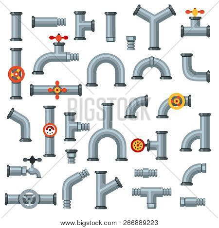 Flat Pipes. Oil Pipe With Pressure Gauge, Metal Tube Manometer And Drain Plumbing Connector Isolated