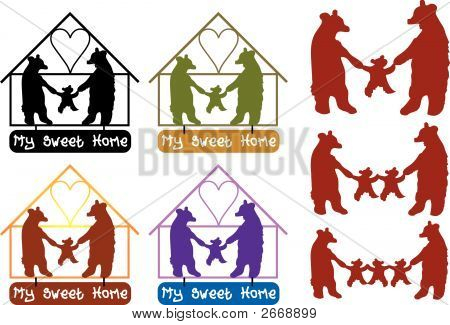 vector illustration for a sweet home for bear family relationship. poster