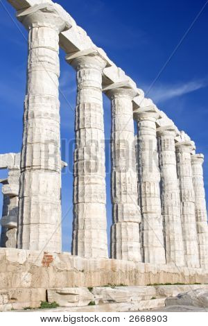 The Temple of Poseidon at Cape Sounion near Athens Greece. c 440 BC. poster