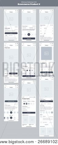Wireframe Kit For Mobile Phone. Mobile Application Ui, Ux Design. New Ecommerce: Store, Products, Ca