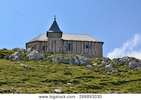 The Church Of Maria Am Stein, The Mountain Dobratsch (or Villacher Alpe, 2166 M Above Sea Level) In