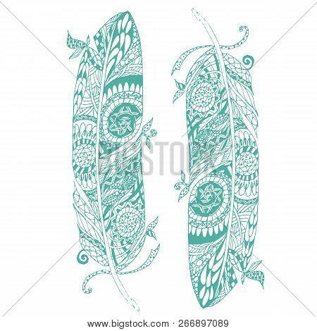 Hand Drawn Two Green Feathers On White Stylized Stock Vector Illustration Design Element For Print,