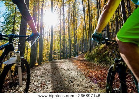 Cycling woman and man at Beskidy mountains autumn forest landscape. Couple riding MTB enduro track. Outdoor sport activity. poster