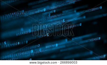 Digital Background Matrix. Data Packets. Binary Computer Code. Hacker Concept. 3D Rendering