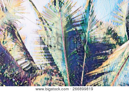 Painted Coco Palm Leaf On Blue Sky Background. Tropical Nature Digital Illustration. Exotic Island L
