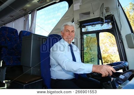 Professional Bus Driver At Steering Wheel. Passenger Transportation
