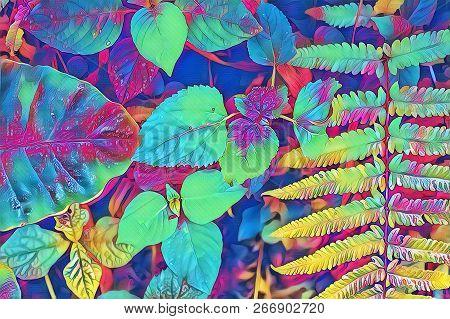 Psychedelic Fern Leaf And Plants Closeup. Forest Floor Colorful Digital Illustration. Neon Fern Leav