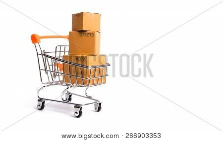 Supermarket Cart With Boxes, Merchandise: The Concept Of Buying And Selling Goods And Services, Inte