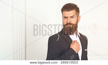 Male Character. Background Retail. Luxury Interior. Beard Suit. Handsome Model Suit. Stylish Men's S