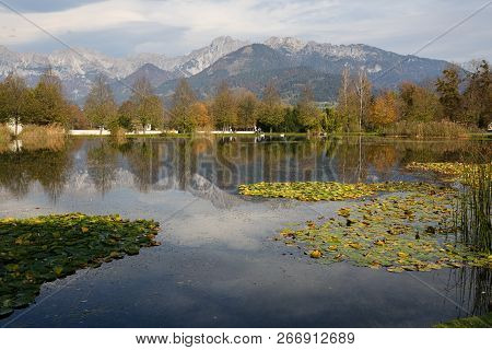 Pond Of The Admont Abbey Located In The Middle Of The Ennstal Alps. Town Of Admont, Gesause National