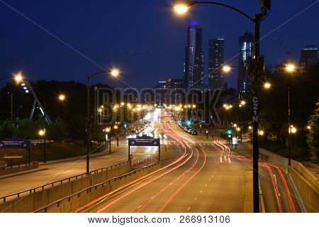 High Speed Road In Night Time Abstraction. City Road Car Light Trails Motion Background. Cars Light