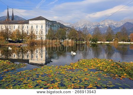 Admont Abbey On The Enns River Located In The Middle Of The Ennstal Alps. Town Of Admont, Gesause Na