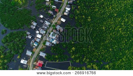 Aerial View Of Village And Mangrove Forest, River On The Siargao Island. Philippines