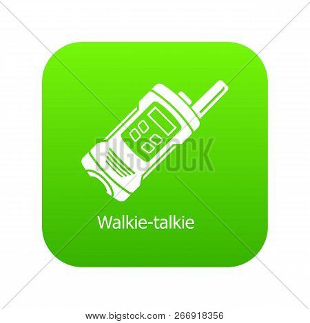 Portable Radio Icon Green Vector Isolated On White Background