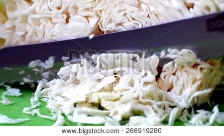 Close Up Of  Slicing Cabbage Close Up