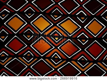 African Print Fabric, Ethnic Handmade Ornament For Your Design, Tribal Pattern Motifs Geometric Elem