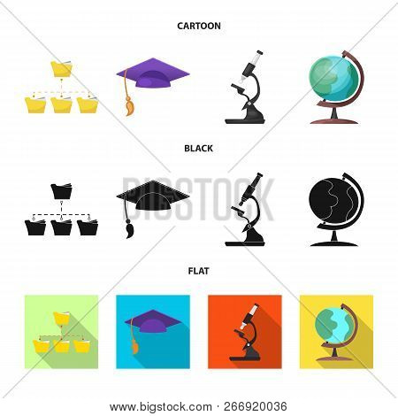 Vector Illustration Of Education And Learning Symbol. Set Of Education And School Stock Symbol For W