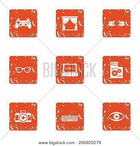 Lense Icons Set. Grunge Set Of 9 Lense Vector Icons For Web Isolated On White Background