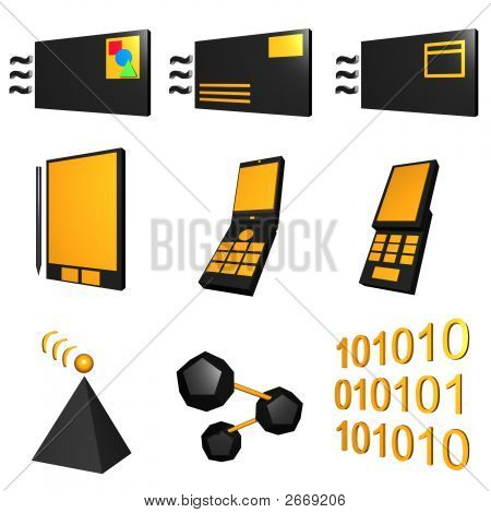 Telecommunications Mobile Industry Icons Set - Black Orange