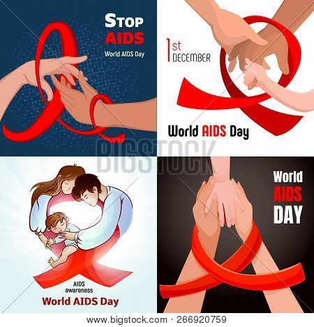 World Aids Day Banner Set. Cartoon Illustration Of World Aids Day Vector Banner Set For Web Design