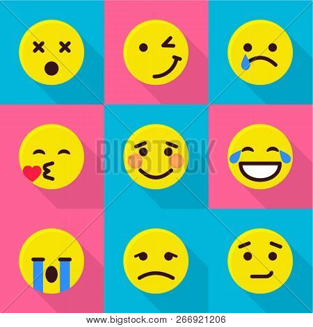 Digital Emotion Icons Set. Flat Set Of 9 Digital Emotion Vector Icons For Web Isolated On White Back
