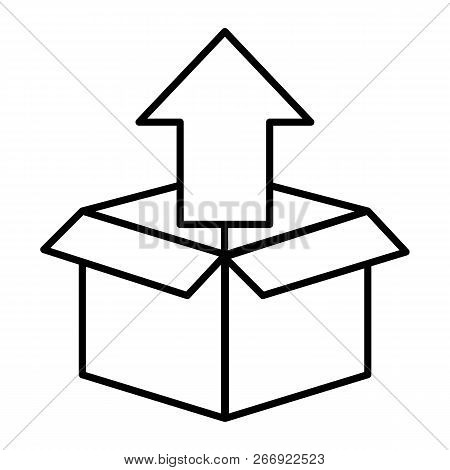 Unpacking Thin Line Icon. Box With Up Arrow Vector Illustration Isolated On White. Unboxing Outline