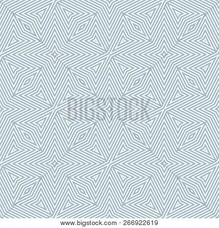 Vector Geometric Lines Pattern. Subtle Blue And White Seamless Ornament. Modern Linear Background Te