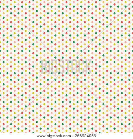 Polka Dot Vector Seamless Pattern. Vector Geometric Texture With Little Colorful Spots, Confetti. Si