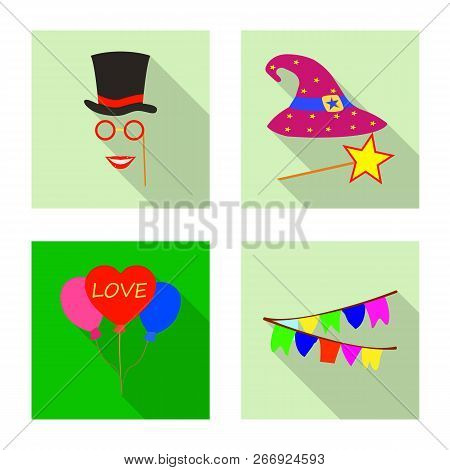Vector Illustration Of Party And Birthday Symbol. Collection Of Party And Celebration Stock Vector I