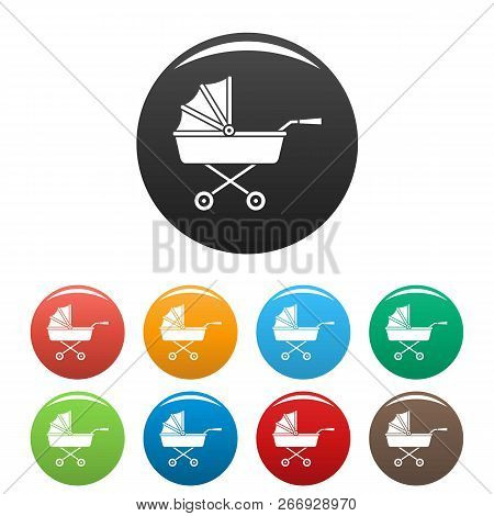 Buggy Icons Set 9 Color Vector Isolated On White For Any Design