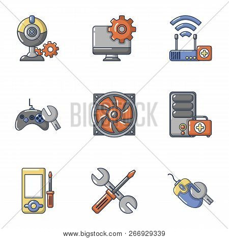 Pc Tech Icons Set. Cartoon Set Of 9 Pc Tech Vector Icons For Web Isolated On White Background