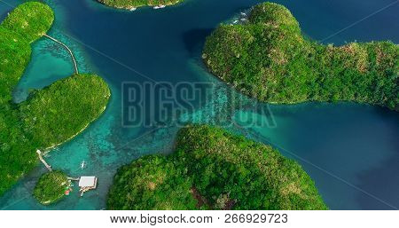Aerial View Of Sugba Lagoon. Beautiful Landscape With Blue Sea Lagoon, National Park, Siargao Island