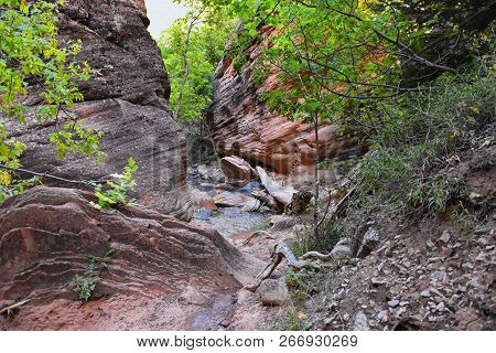 Kanarraville Falls, Views From Along The Hiking Trail Of Falls, Stream, River, Sandstone Cliff Forma