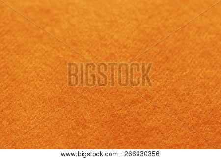 Trend Russet Orange Woolen Knitted Background, Texture, Close-up