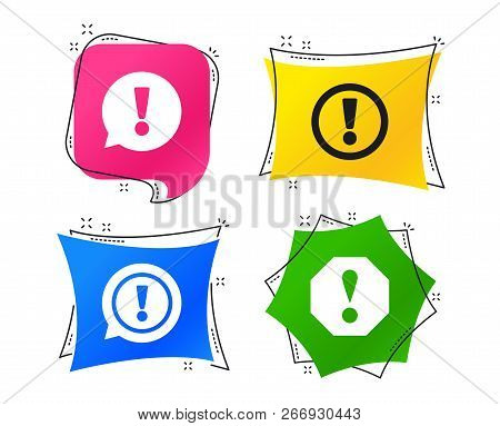 Attention Icons. Exclamation Speech Bubble Symbols. Caution Signs. Geometric Colorful Tags. Banners