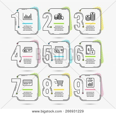 Infographic Timeline. Set Of Currency, Buying Accessory And Payment Method Icons. Private Payment, C