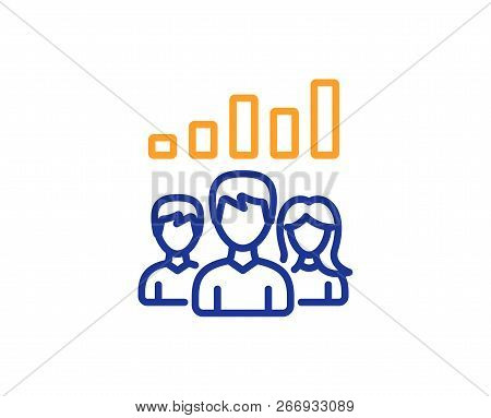 Teamwork Results Line Icon. Group Of People Sign. Colorful Outline Concept. Blue And Orange Thin Lin