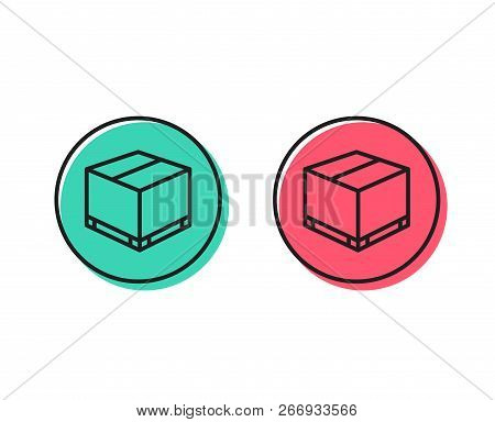 Parcel Box Line Icon. Logistics Delivery Sign. Package Tracking Symbol. Positive And Negative Circle