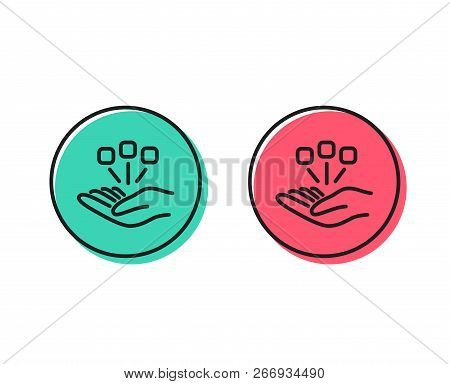 Consolidation Line Icon. Business Strategy Sign. Positive And Negative Circle Buttons Concept. Good